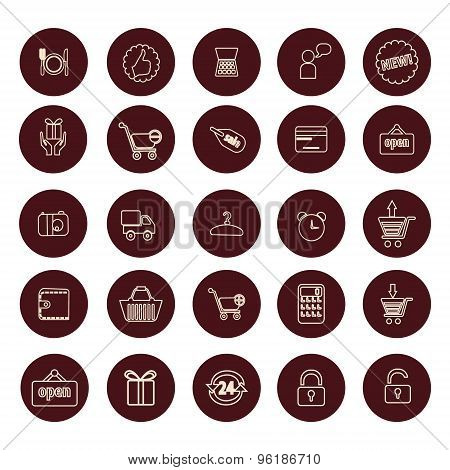 Shopping And Retail Related Icons Set - Simplines Series.