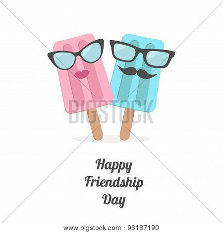 Happy Friendship Day Ice Cream Couple With Lips, Mustaches And Eyeglasses. Flat Design