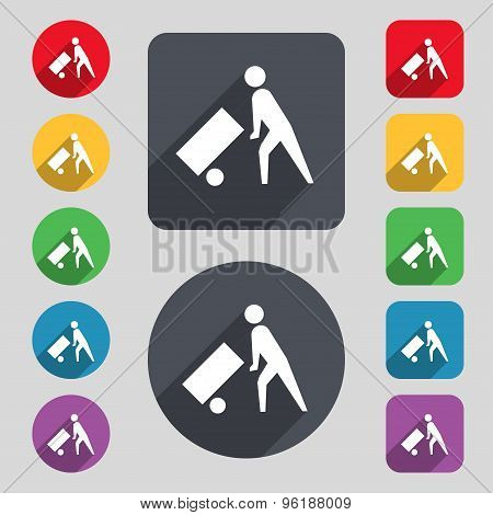 Loader Icon Sign. A Set Of 12 Colored Buttons And A Long Shadow. Flat Design. Vector
