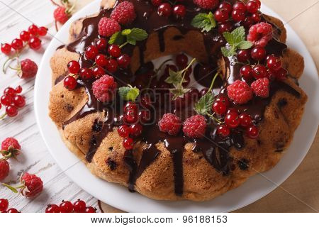 Fragrant Berry Sponge Cake With Chocolate Close-up