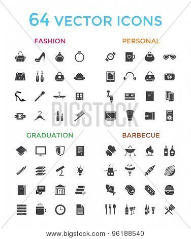 Vector objects icons set. Fashion, Education, or Babrbecue and Personal symbols. Stock design elements.