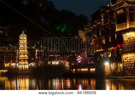 Twilight Scene Of Fenghuang Ancient City.