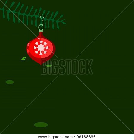 Red Christmas decoration on green background