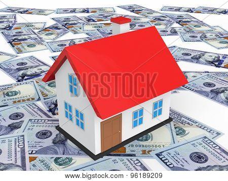 3d house on scattered dollar bills