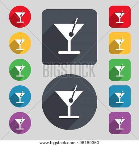 Cocktail Icon Sign. A Set Of 12 Colored Buttons And A Long Shadow. Flat Design. Vector