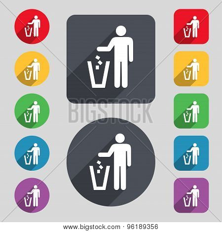 Throw Away The Trash Icon Sign. A Set Of 12 Colored Buttons And A Long Shadow. Flat Design. Vector