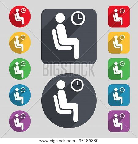Waiting Icon Sign. A Set Of 12 Colored Buttons And A Long Shadow. Flat Design. Vector