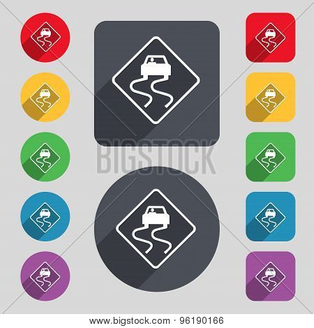 Road Slippery Icon Sign. A Set Of 12 Colored Buttons And A Long Shadow. Flat Design. Vector