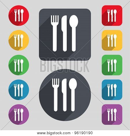 Fork, Knife, Spoon Icon Sign. A Set Of 12 Colored Buttons And A Long Shadow. Flat Design. Vector