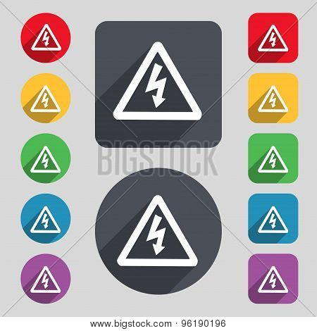 Voltage Icon Sign. A Set Of 12 Colored Buttons And A Long Shadow. Flat Design. Vector