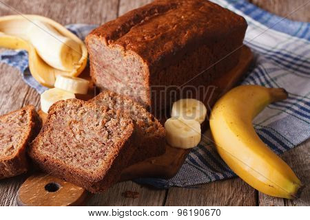 Fresh Homemade Banana Bread Close-up On The Table. Horizontal