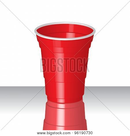 Party Red Plastic Cup With Reflection