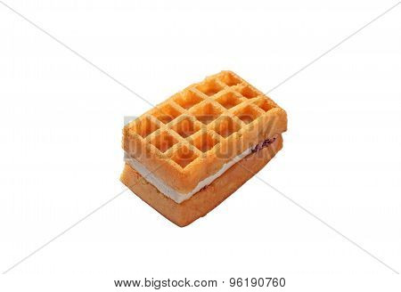 Viennese Waffle On A White Background