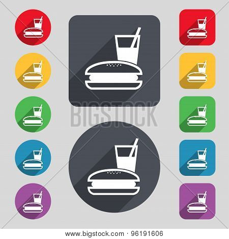 Lunch Box Icon Sign. A Set Of 12 Colored Buttons And A Long Shadow. Flat Design. Vector