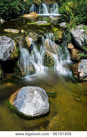 Mountain Creek With Waterfall