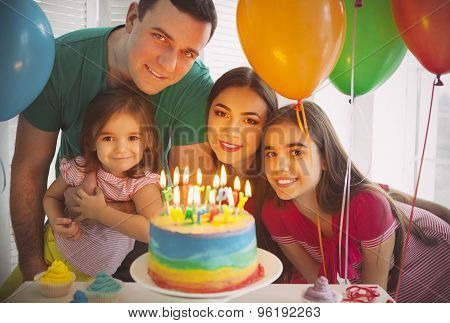 Portrait Of Family Celebrating Birthday