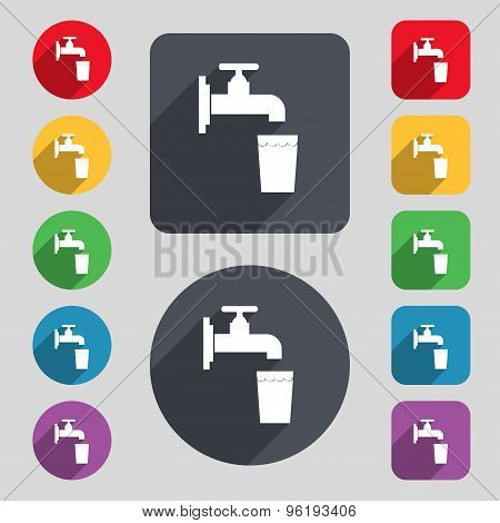 Faucet, Glass, Water Icon Sign. A Set Of 12 Colored Buttons And A Long Shadow. Flat Design. Vector
