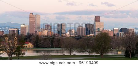 City Park Denver Downtown Skyline Lake Sunrise Cityscape