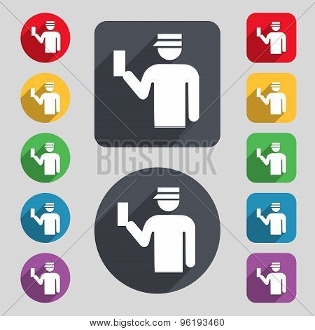 Inspector Icon Sign. A Set Of 12 Colored Buttons And A Long Shadow. Flat Design. Vector
