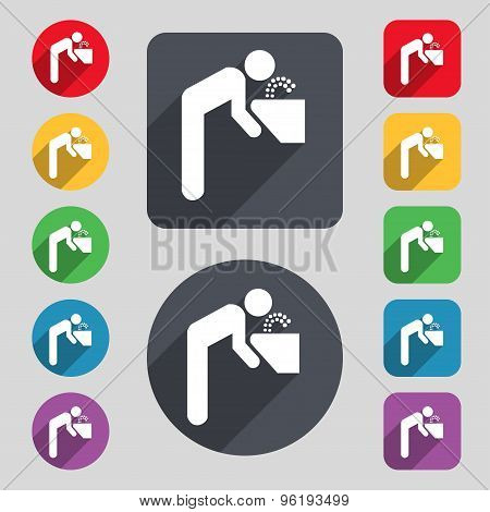 Drinking Fountain Icon Sign. A Set Of 12 Colored Buttons And A Long Shadow. Flat Design. Vector