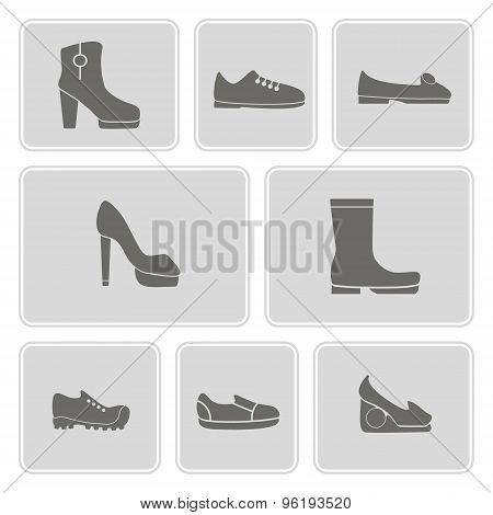 set of monochrome icons with shoes