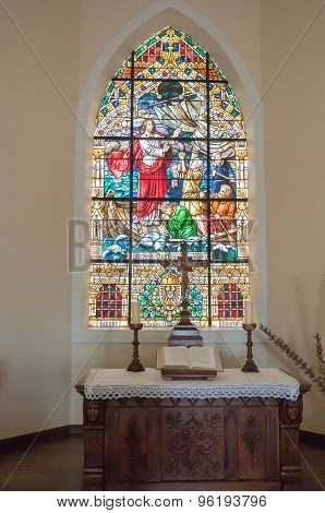Stained Glass Window In The Felsenkirche In Luderitz