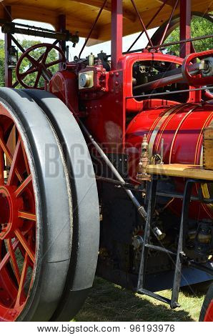 Steam traction engine.