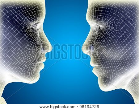 Concept or conceptual 3D wireframe or mesh human male and female head on blue gradient background