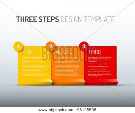 Vector Paper Progress design template with three steps - yellow, red and orange version