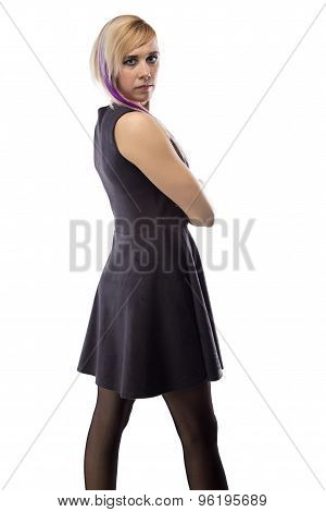 Image woman in artificial suede dress, half turned