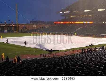 Giants Grounds Crew Uses Tarp To Cover Infield To Save It From Rain After Giants Win Game