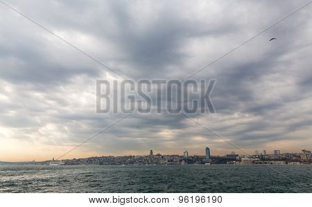 European side of Istanbul with sea and Galata tower