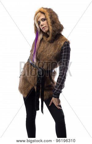 Photo of blonde in brown fur jacket, half turned