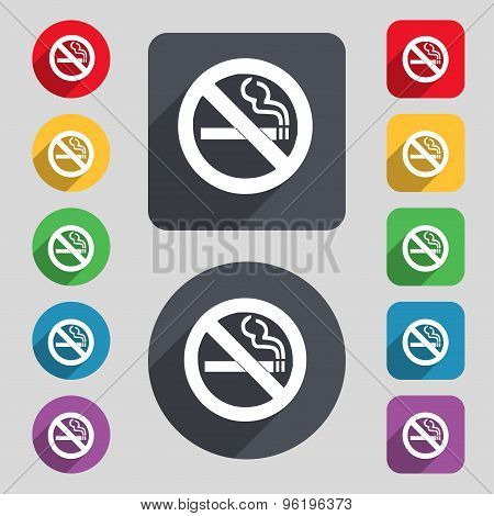 No Smoking Icon Sign. A Set Of 12 Colored Buttons And A Long Shadow. Flat Design. Vector