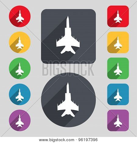 Fighter Icon Sign. A Set Of 12 Colored Buttons And A Long Shadow. Flat Design. Vector
