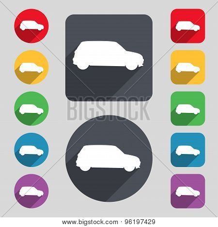 Jeep Icon Sign. A Set Of 12 Colored Buttons And A Long Shadow. Flat Design. Vector