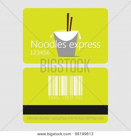 Noodles restaurant. Template loyalty card design. Flat style vector illustration.