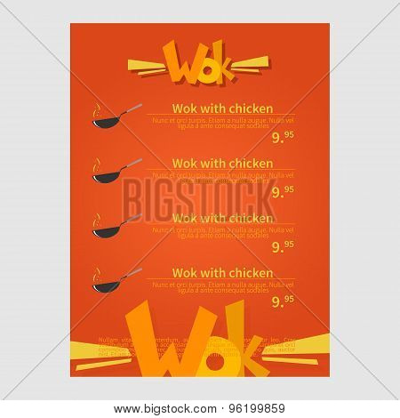 Wok cafe menu, template design. Flat style vector illustration.
