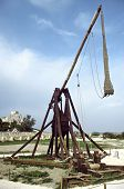 foto of trebuchet  - medieval war machine in a french castle - JPG