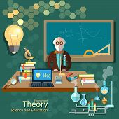 picture of professor  - Science and education teacher classroom professor university college algebra chemistry physics theory lecture vector illustration - JPG