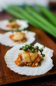 picture of scallop shell  - Seared scallops  served on a bed of vegetables - JPG