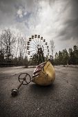 stock photo of ferris-wheel  - The abandoned Ferris wheel in the amusement park in Pripyat - JPG