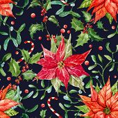 picture of christmas flower  - Beautiful vector pattern with nice watercolor christmas flowers - JPG