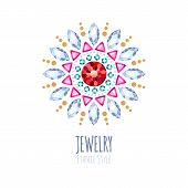picture of jewelry  - Elegant gemstones vector jewelry decoration - JPG