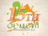stock photo of indian independence day  - Glossy text 15th of August on famous monuments and flag color splash grungy background for Indian Independence Day celebration - JPG