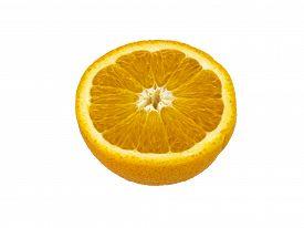 pic of valencia-orange  - Valencia orange cut in half isolated over white background - JPG
