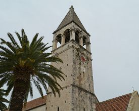 picture of ascension  - The belfry of the Saint Dominic monastery and the Ascension of our Lord Jesus Christ church in the old part of the city Trogir in Croatia - JPG