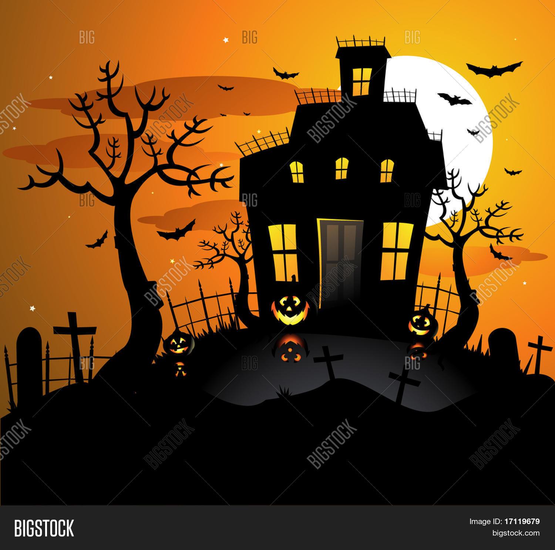 Haunted House Halloween Background Vector & Photo | Bigstock