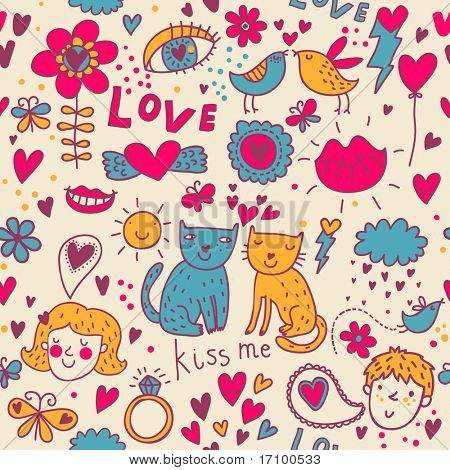 Colorful romantic seamless pattern