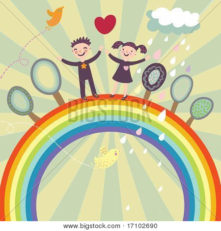 Happy children under rainbow - cute cartoon illustration